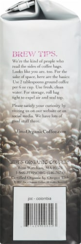 JIm's Organic Coffee Colombian Whole Bean Coffee Perspective: left