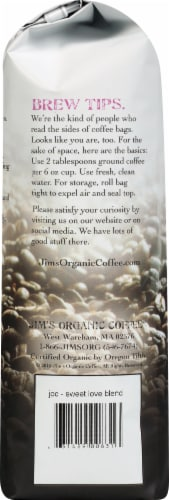 Jim's Organic Coffee Sweet Love Blend Whole Bean Coffee Perspective: left