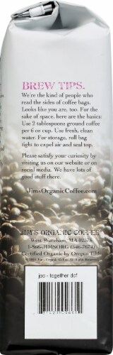 Jim's Organic Coffee Together Decaf Whole Bean Coffee Perspective: left