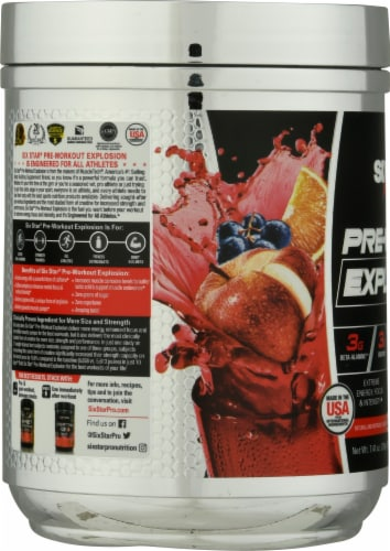 Six Star Pre-Workout Explosion Fruit Punch Flavored Sports Supplement Perspective: left