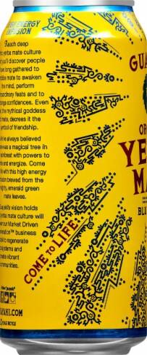 Guayaki Yerba Mate Organic Bluephoria Energy Drink Perspective: left