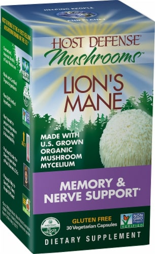 Host Defense Mushrooms Lion's Mane Memory & Nerve Support Capsules Perspective: left
