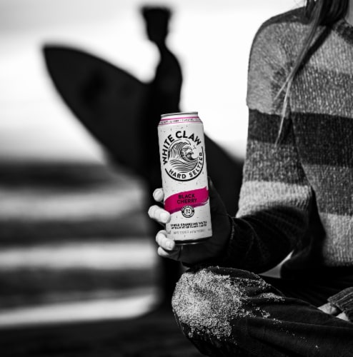 White Claw Black Cherry Hard Seltzer Perspective: left