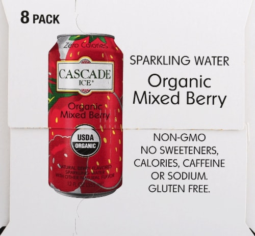 Cascade Ice Organic Mixed Berry Sparkling Water Perspective: left