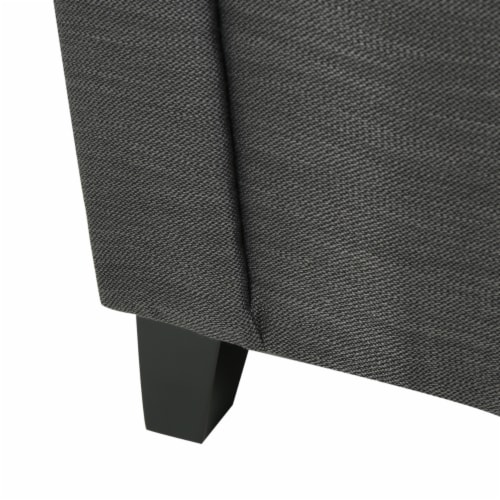 Arthur Grey Tufted Fabric Armed Storage Ottoman Bench Perspective: left