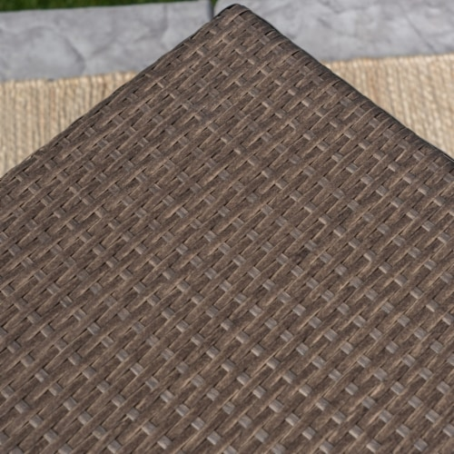 Venice Outdoor Light Brown Wicker Side Table Perspective: left