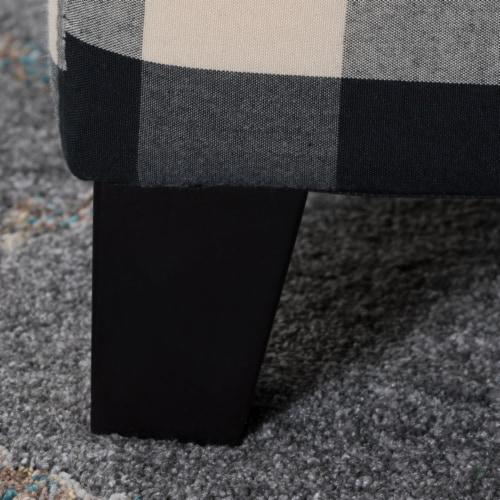 Brianna Black & White Checker Fabric Storage Ottoman Perspective: left