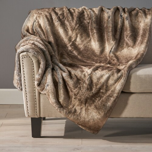 Tuscan Ash White Faux Fur  Throw Blanket Perspective: left