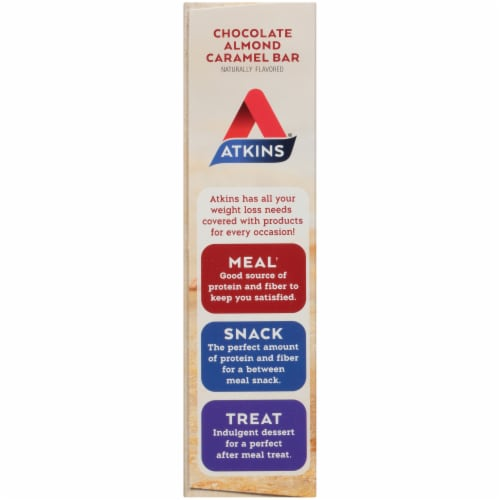 Atkins  Meal Bar   Chocolate Almond Caramel Perspective: left