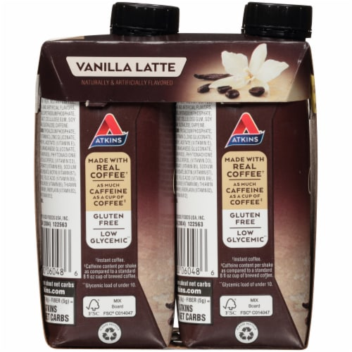 Atkins Iced Coffee Vanilla Latte Protein Shake Perspective: left