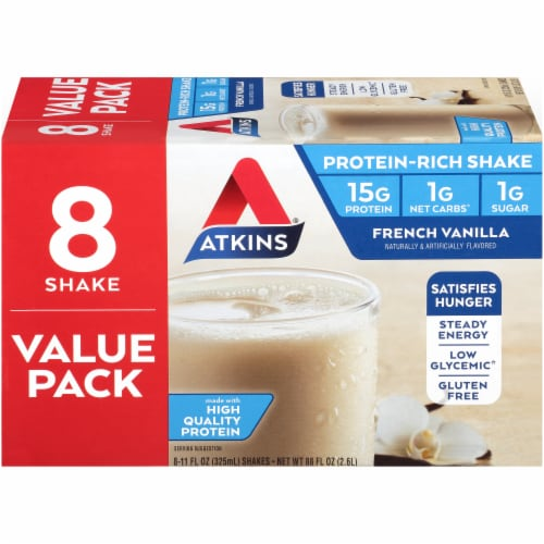 Atkins French Vanilla Protein Shake Value Pack Perspective: left
