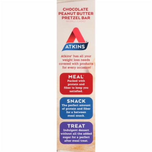 Atkins Advantage Protein-Rich Chocolate Peanut Butter Pretzel Meal Bars 5 Count Perspective: left