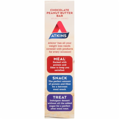 Atkins Chocolate Peanut Butter Bars 5 Count Perspective: left
