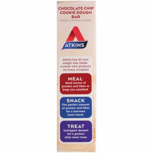 Atkins Advantage Protein-Rich Chocolate Chip Cookie Dough Meal Bars 5 Count Perspective: left