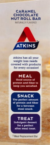 Atkins Caramel Chocolate Nut Roll Bars 5 Count Perspective: left