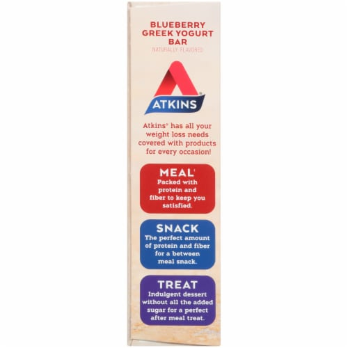 Atkins Protein-Rich Blueberry Greek Yogurt Meal Bars 5 Count Perspective: left