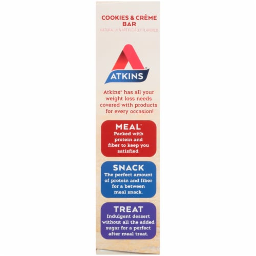 Atkins Cookies & Cream Protein-Rich Meal Bars 5 Count Perspective: left
