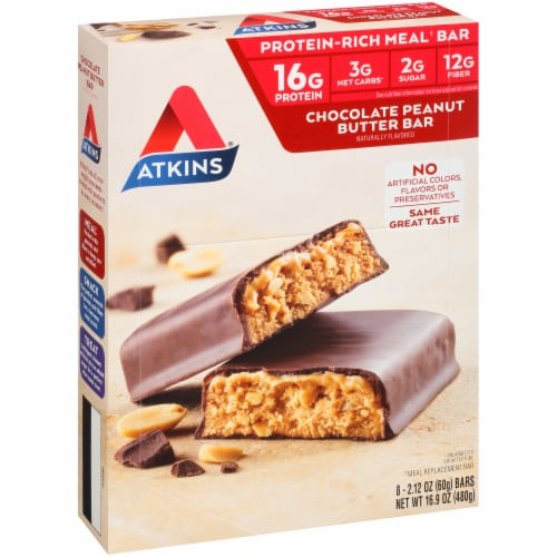 Atkins  Meal Bar Chocolate Peanut Butter - 8 Count Perspective: left