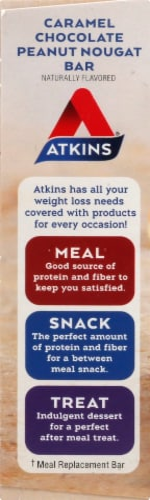 Atkins Caramel Chocolate Peanut Nougat Bars 5 Count Perspective: left