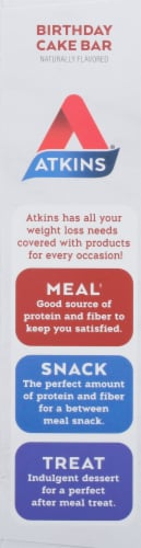 Atkins Birthday Cake Protein Meal Bars Perspective: left
