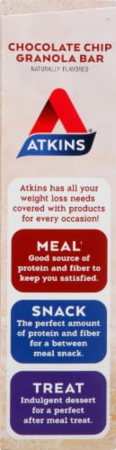 Atkins Protein-Rich Chocolate Chip Granola Meal Bars Perspective: left