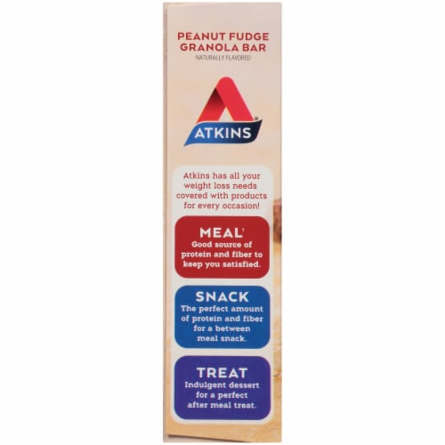 Atkins Protein-Rich  Peanut Fudge Granola Meal Bars 5 Count Perspective: left