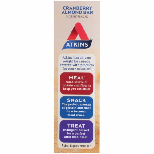 Atkins Cranberry Almond Bars 5 Count Perspective: left