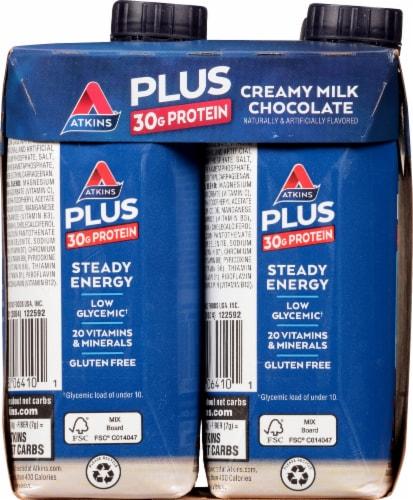 Atkins Plus Protein & Fiber Creamy Milk Chocolate Shake Perspective: left