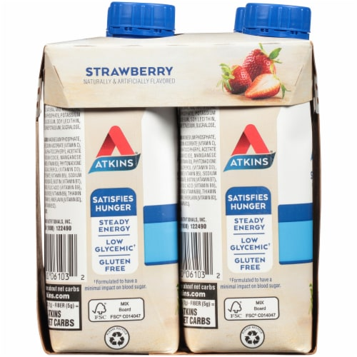 Atkins Protein-Rich Strawberry Shakes Perspective: left