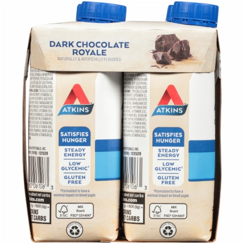 Atkins Dark Chocolate Royale Protein-Rich Shakes Perspective: left