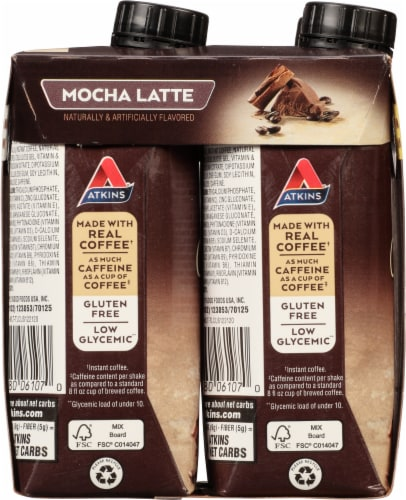 Atkins Mocha Latte Protein-Rich Shakes Perspective: left