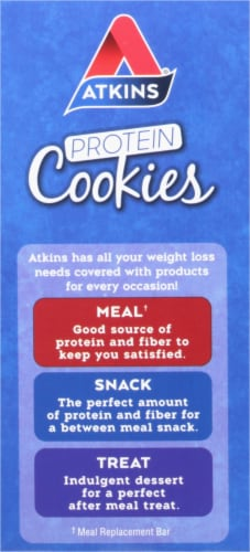 Atkins Chocolate Chip Protein Snack Cookies Perspective: left