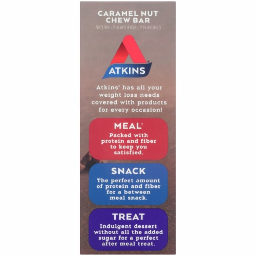 Atkins Endulge Caramel Nut Chew Treat Bars 5 Count Perspective: left