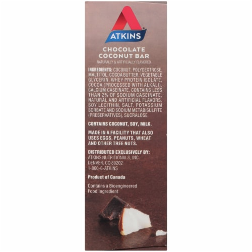 Atkins Endulge Chocolate Coconut Treat Bar 5 Count Perspective: left