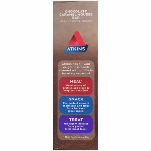 Atkins Endulge Chocolate Caramel Mousse Treat Bar 5 Count Perspective: left