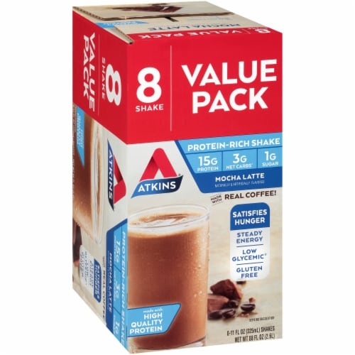 Atkins Ready to Drink Mocha Latte Protein Rich Shakes - 8 Count Perspective: left