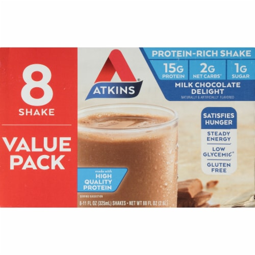 Atkins Milk Chocolate Delight Protein-Rich Shake Value Pack Perspective: left