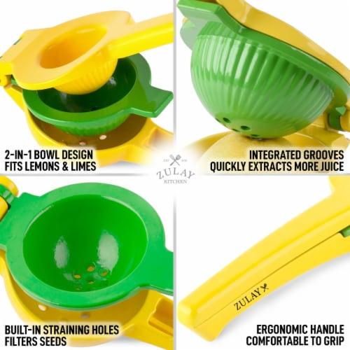 Zulay Kitchen Premium Quality Metal Lemon Lime Squeezer - Manual Citrus Press Juicer Perspective: left