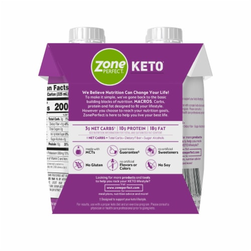 ZonePerfect Keto Vanilla Ready-to-Drink Shakes Perspective: left