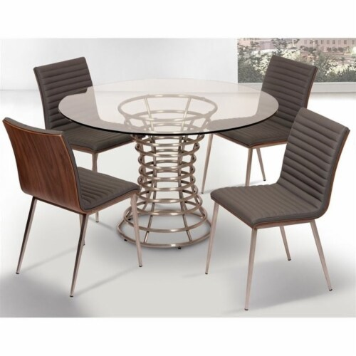 Armen Living Cafe Faux Leather Steel Dining Chair in Gray (Set of 2) Perspective: left