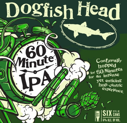 Dogfish Head 60 Minute IPA Beer 6 Cans Perspective: left