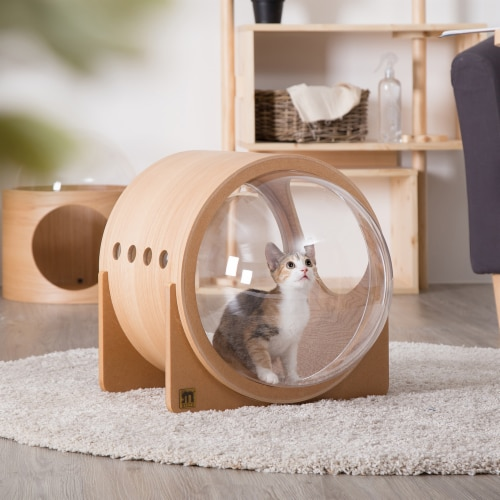 MYZOO Spaceship Alpha Modern Wooden Capsule Floor Cat and Dog Pet Bed, Oak Perspective: left