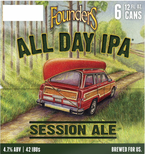 Founders Brewing All Day IPA Session Ale Perspective: left