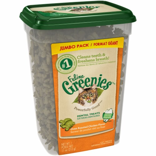 Greenies Feline Oven Roasted Chicken Flavor Dental Treats Perspective: left