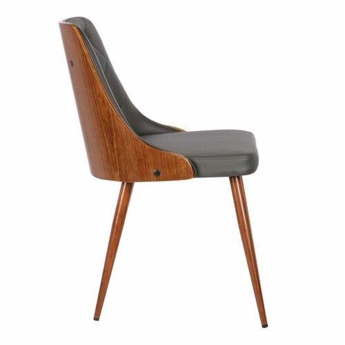 Armen Living Lily Dining Chair in Walnut and Gray Perspective: left