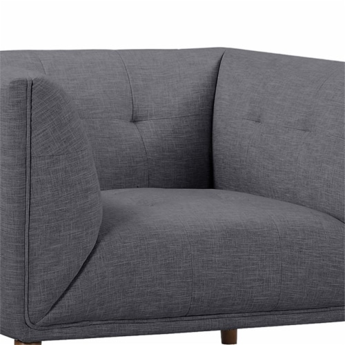 Armen Living Hudson Button-Tufted Chair in Dark Gray Perspective: left