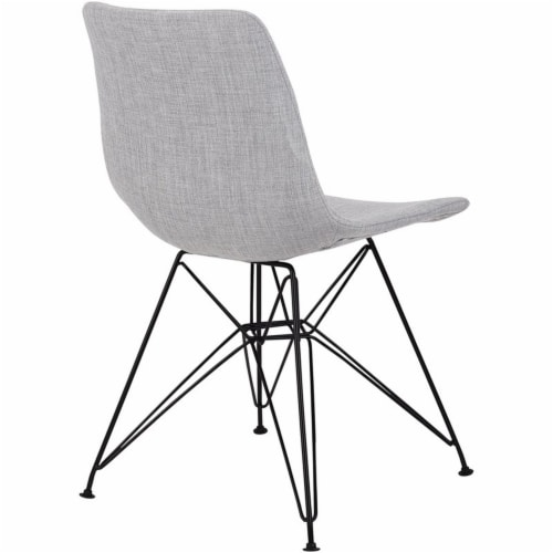 Armen Living Palmetto Upholstered Dining Side Chair in Gray Perspective: left