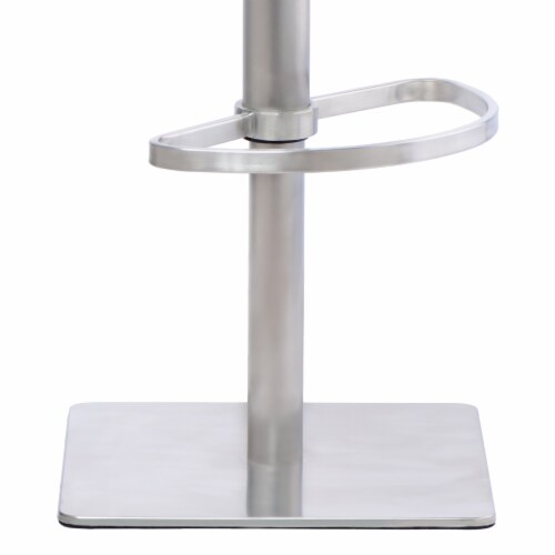 Barstool in Brushed Stainless Steel with Vintage Grey Faux Leather and Walnut Wood Back Perspective: left