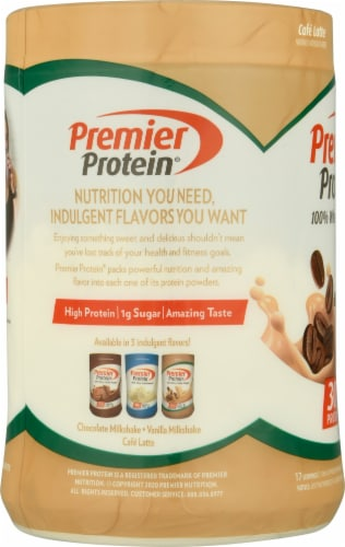 Premier Protein Cafe Latte Protein Powder 4 Count Perspective: left