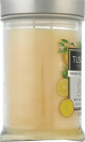 Tuscany Candle Lemon Sugar Cookie Jar Candle Perspective: left